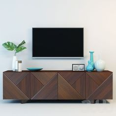 geometric wooden media console by Rosanna Ceravolo Living Room Tv, Living Room Lighting, Dining Room, Dining Table, West Elm Media Console, Modern Media Cabinets, Modern Interior, Interior Design, Mid Century Decor