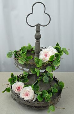 I could use this for soooo many things!!! Cool site....   Tiered Dessert Stand - Vintage Gray