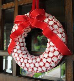 DIY Christmas Wreath Ideas - Candy Wreath - Click Pick for 24 DIY Christmas Decor Ideas
