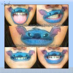 Lips look like Stitch from Lilo & Stitch...