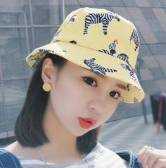 Animal zebra bucket hat for teenage girls leopard and swallows cotton on hats