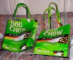 Recycle a large dog food bag and make a roomy tote.  http://www.allfreecrafts.com/paper-crafts/recycled/dog-bag-tote/