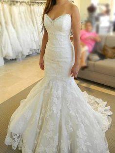 Long Mermaid Strapless Sleeveless Lace Wedding Dress b4926b5b0b3b