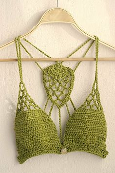 Crochet Bikini Top, Lace crochet bikini bra, Yoga crochet top, Halter top, Boho bikini top in mos green Crochet Lingerie, Crochet Bra, Crochet Bikini Top, Crochet Woman, Love Crochet, Crochet Clothes, Crochet Designs, Crochet Patterns, Crochet Bathing Suits