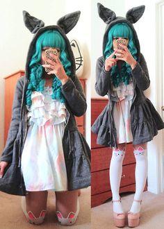 Cute teal hair and cool hoodie