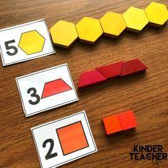 Pattern Block math game - Represent numbers using shapes-individual Kindergarten Math Activities, Numbers Kindergarten, Montessori Math, Numbers Preschool, Math Numbers, Teaching Math, Number Activities, Kindergarten Shapes, 2 Kind