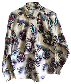 vintage mens womens unisex long sleeve collared button up Wrangler shirt cowboy cowgirl western wear navajo colorful print... tons of wranglers up now on ETSY and WWW.VELVETMETALVINTAGE.COM