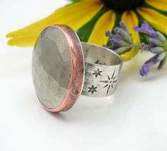 Large Pyrite Ring Sterling Silver and copper   by AmityJewelry
