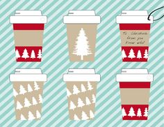 Printable coffee cup gift tags, cute gift tags, Christmas gift tag, coffee gift, gift tags, printable tags, DIY gift tag , coffee cup tag by ChloeDrapeauArt on Etsy Printable Tags, Printables, Types Of Printer, Coffee Gifts, Christmas Gift Tags, All Design, Cute Gifts, Coffee Cups, Shops