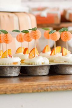 Peach Cupcakes with Peach Cupcake Toppers at a Sweet as a Peach Peaches and Cream Birthday Party by Kara's Party Ideas Girl First Birthday, Baby Birthday, First Birthday Parties, Birthday Party Themes, First Birthdays, Mermaid Birthday, Orange Birthday Parties, Birthday Ideas, Birthday Centerpieces