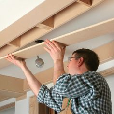 how to build a box beam coffered ceilng    http://www.finehomebuilding.com/item/16871/coffered-ceiling