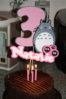 TOTORO party! TOTORO Cake topper #totoro Such an awesome simple and fun idea.