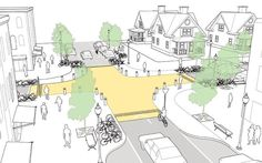 6 Intersection Designs That Actually Prioritize Pedestrians [ Image: NACTO.org ]