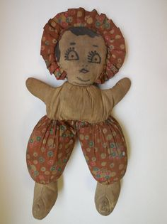 Antique Vintage Cloth Rag Doll Painted Face 16""