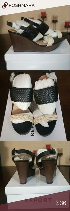 Report Kamilah Black Cream Moc Leather Wedges 9 Brand Spanking New with Original Box are these STUNNING Report Kamilah Black Cream Moc Leather Wedges in Ladies Size 9. Retails for  $79.00 Report Shoes Wedges