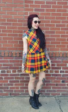 With my motorcycle boots. 60s mod plaid dress  yellow tartan drop waist by TheCosmicCircle, $58.00