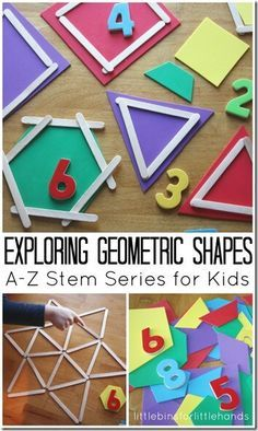 (Great activities to do with kids to learn or reinforce shapes). Shape Math Activities for Kids - So many fun ways for preschool, kindergarten, grade, and grade kids to explore geometric shapes in this stem activities for kids. Math Activities For Kids, Math For Kids, Kids Learning, Learning Shapes, Math Games For Preschoolers, Addition Activities, Shapes For Preschool, Kids Shapes, Educational Activities For Preschoolers