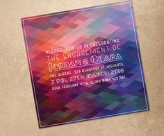 Modern Engagement Invitation   Print At Home File Or Printed Cards    Colourful Geometric Personalised Engagement Invitation Design