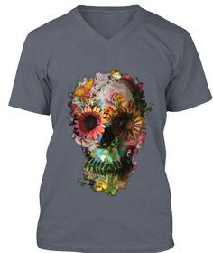 Flower Skull Tees   Ltd Edition Deep Heather T-Shirt Front