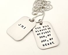 Personalized Dog Tags  Hand Stamped Mens Big by ForeverHeartPrints, $40.00 - For Aiden when baby is born or at the baby shower.