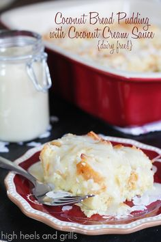 Almond Milk Recipes: Coconut Bread Pudding with Coconut Cream Sauce - Dairy Free dessert Mini Desserts, Pudding Desserts, Pudding Recipes, Just Desserts, Delicious Desserts, Dessert Recipes, Coconut Bread Pudding Recipe, Trifle Desserts, Plated Desserts