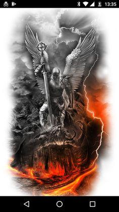 New Tattoo Designs Ideas Tatuajes Ideas Archangels, Body Art Tattoos, Warrior Tattoos, Tattoo Sleeve Designs, Custom Tattoo, Custom Tattoo Design, Archangel Tattoo, Tattoo Designs, Archangel Michael Tattoo