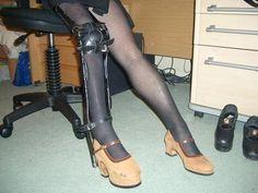Example of leg brace and raised shoe