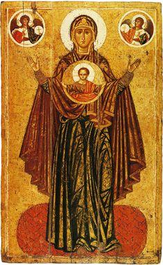 Gottesmutter Orantin oder Große Panhagia, 194 x 120 cm, um 1218, Eitempera auf Holz. Tretjakow-Galerie, Moskau