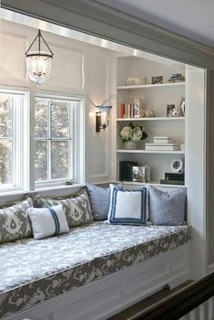 Incredibly cozy and inspiring window seat ideas cozy window seat with shelving. I can picture this ♥cozy window seat with shelving. I can picture this ♥ House Design, House, Interior, Window Seat Kitchen, Bedroom Design, Home Decor, House Interior, Remodel Bedroom, Interior Design