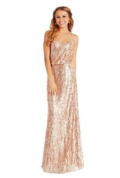 A floor-length sequin bridesmaid dress with a strappy top, available in two colors. Affordable designer bridesmaid dresses to buy or rent at Vow To Be Chic.