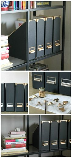 Is your office in need of some spring cleaning? With these DIY magazine files, you can store all of your loose paperwork and clutter in style. All you'll need are some black cardboard file boxes and some gold leaf paint–organization has never looked so good!