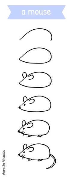 Dessiner une souris - draw a mouse - step by step Plus More