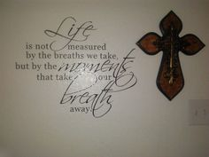 Wooden cross and diy life wall decal