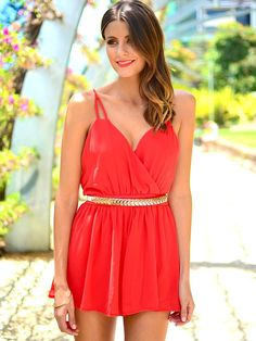 BEAUTIFUL WORLD PLAYSUIT (RED)