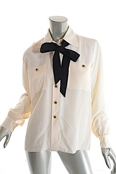 4e4a1c73393 White Yves Vintage Cream Silk Shirt with Pretty Buttons + Tie Blouse