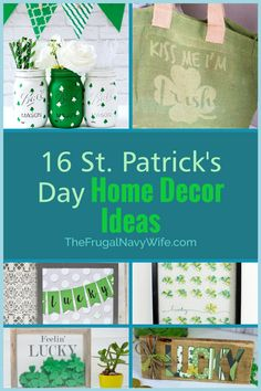 Here are 16 St Patrick's day crafts and home decor ideas. They are perfect for getting into the green holiday mood! What will you make this year? #frugalnavywife #stpatricksday #decor #homedecor #diydecor #holiday | St. Patrick's Day Home Decor Ideas | Cricut Crafts | St. Patricks Day Crafts | DIY Home Decor | Holiday Home Decor St Patrick's Day Crafts, Crafts For Kids, Diy Crafts, Diy Christmas Gifts, Holiday Crafts, Holiday Decor, Do It Yourself Projects, Do It Yourself Home, Holiday Mood