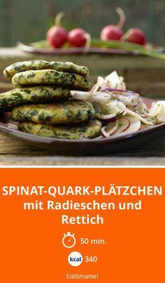 Puffer-Rezept: Spinat-Quark-Plätzchen - mit Radieschen und Rettich - smarter - Kalorien: 340 Kcal - Zeit: 50 Min.   eatsmarter.de