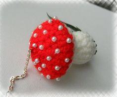 Crochet Keychain Bag Charm Toadstool Red by CraftsbySigita on Etsy,