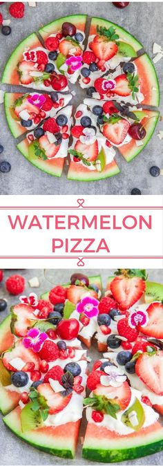 Watermelon pizza is a fun and healthy snack that everyone will love. Refreshing, delicious, and only takes 10 minutes to make!Watermelon pizza is a fun and healthy snack that everyone will love. Refreshing, delicious, and only takes 10 minutes to make! Watermelon Pizza, Watermelon Recipes, Watermelon Dessert, Healthy Drinks, Healthy Recipes, Healthy Pizza, Healthy Summer Snacks, Healthy Snacks Vegetarian, Vegetarian Grilling