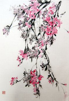 Weeping Cherry - Japanese Ink Painting Suibokuga,Sumi-e Brush painting Pink Flowers, Rice Paper painting, inch Japanese Ink Painting, Japanese Art, Japanese Rice, Cherry Tree Tattoos, Brush Tattoo, Blossom Tattoo, Back Tattoo, Beautiful Tattoos, Flower Tattoos
