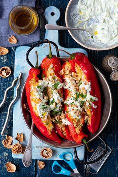 Papryka faszerowana kuskusem Tzatziki, Bruschetta, Feta, Ethnic Recipes, Eating Organic