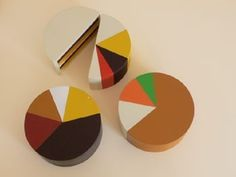 "food art for the data geek - ""I-cake"" by the food artist Marti Guixé, the cakes are in the form of pie charts indicating the percentage of ingredients used."