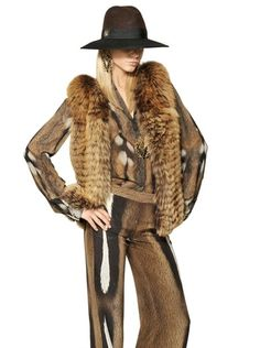 Roberto Cavalli - Brown Weasel Tricot Fox Fur Vest - Lyst 466d3a62cb35