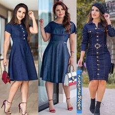 Shop sexy club dresses, jeans, shoes, bodysuits, skirts and more. Demin Dress, Denim Skirt Outfits, Tweed Dress, Denim Outfit, Dress Outfits, Gown Pattern, Dress Patterns, Denim Fashion, Fashion Outfits