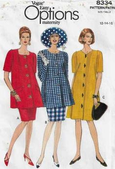 Women's Maternity Dress, Tunic and Skirt Sewing Pattern Misses Size 16 UNCUT Vogue 8334 Hat Patterns To Sew, Skirt Patterns Sewing, Blouses For Women, Jackets For Women, Maternity Patterns, Skirt Sewing, Girls Blouse, Straight Dress, Vintage Vogue
