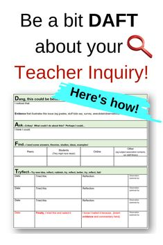This guide includes a 'DAFT' template to guide super-busy teachers through their inquiry in a realistic, simple but authentic way.  Teacher inquiries shouldn't be onerous or done just to please admin!  Grab this editable guide - buy one and share it with as many staff in your school as you like (because teachers NEED this!)  Written by a teacher experienced in coaching with her 'realistic' hat firmly in place.  Already used in several schools I've worked at - thought it was time to share! School Template, Busy Teachers, Your Teacher, Schools, Things To Think About, Coaching, Stress, Student, Hat