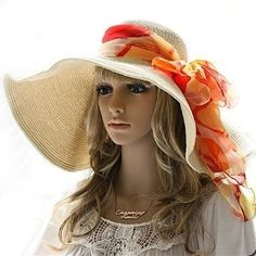 Trendy Sun Hats for Women love the big scarf a good pop of color
