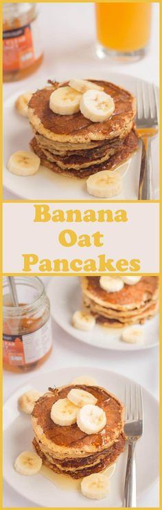 Healthy banana oat pancakes that are not only good for you but also delicious and extremely easy to make. That's what this recipe is all about. Just put all of the ingredients into a blender or food processor and hey-presto that's you ready to cook them i Banana Oat Pancakes, Banana Oats, Breakfast Pancakes, Healthy Banana Pancakes, Yogurt Pancakes, Oat Muffins, Vegan Pancakes, Healthy Baking, Healthy Treats