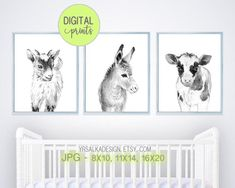 Set of 3 Black White Farm Animal Prints Goat Donkey Cow Farmhouse Baby Animal Nursery Wall Decor, Printable Gender neutral baby art #genderreveal #neutralnursery #farmprints #etsy
