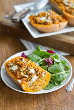 Twice Baked Butternut Squash (with quinoa and gorgonzola) | Naturally Ella - YUMMMM!!!